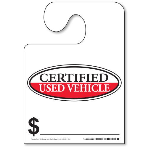Hook Mirror Tag - Certified Used Vehicle