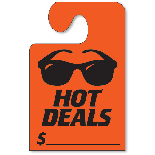 Hot Deals Mirror Tags with Hook - Fluorescent Red