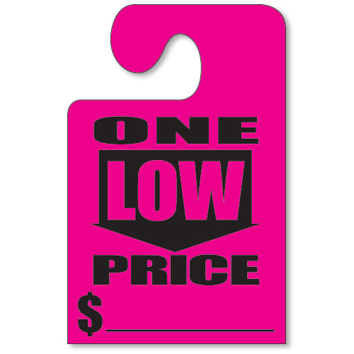 Fluorescent Pink Hook Mirror Tag-  One Low Price