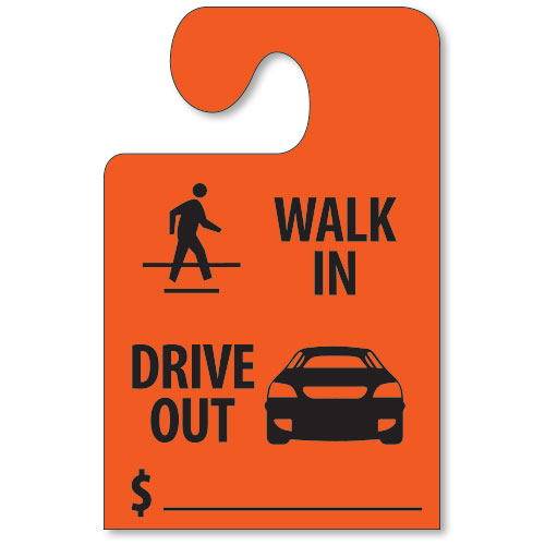 Walk In, Drive Out Mirror Tags with Hook - Fluorescent Red
