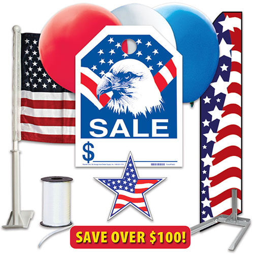 Patriotic Event Kit with Tire Stand