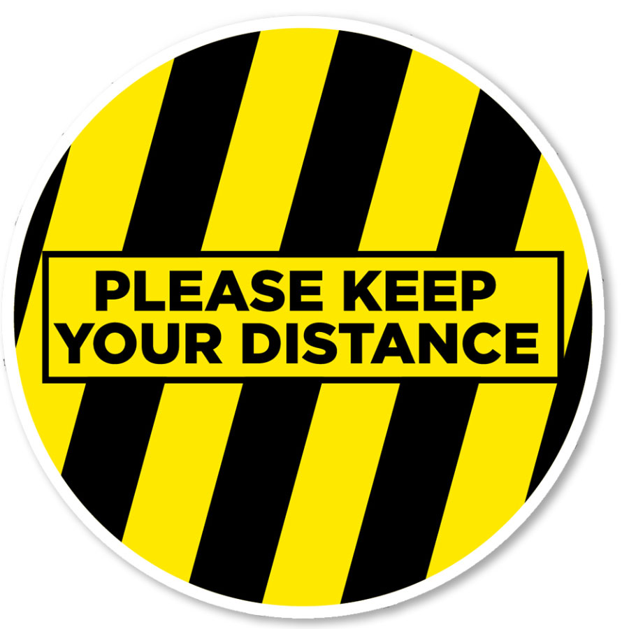"""Please Keep Your Distance 12"""" Circle Blk/Ylw Floor Sign"""