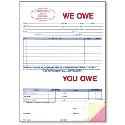 Custom Imprinted We Owe/You Owe Forms