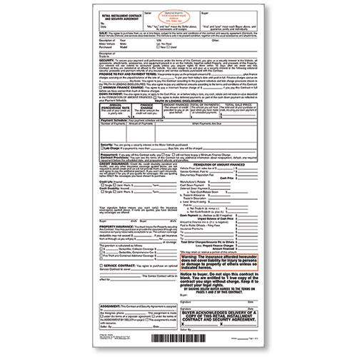 Custom Imprinted Retail Installment Contract