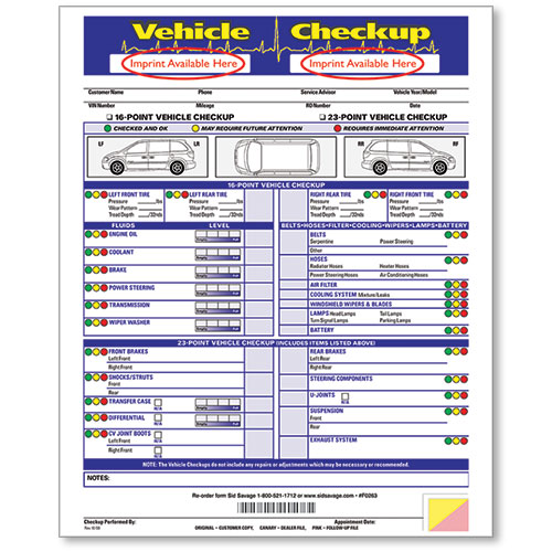 Custom Imprinted Vehicle Check-Up Form
