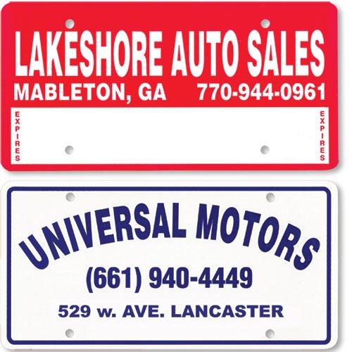 Custom Dealer Message Plates Plastic License Plate