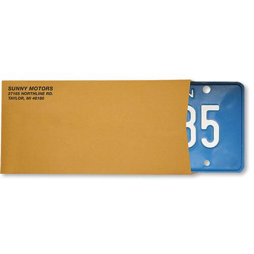 Imprinted License Plate Envelopes