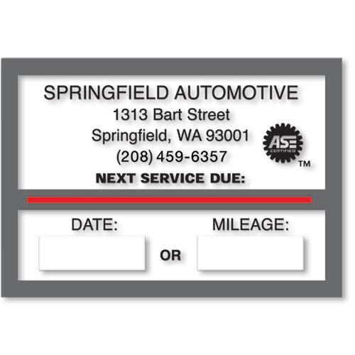 Custom Static Cling Oil Change Sticker Reminders - Version 2