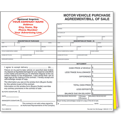 Custom Imprinted Bill Of Sale Style   Car Sale Forms