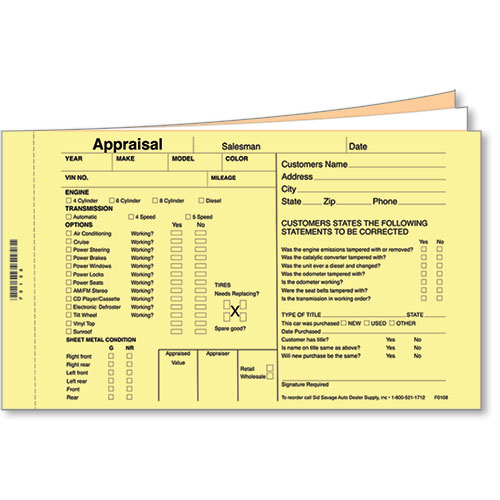 5 x 8 inch Appraisal Forms