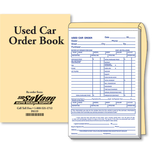 Used Car Order Forms Car Sale Forms Auto Dealer Forms