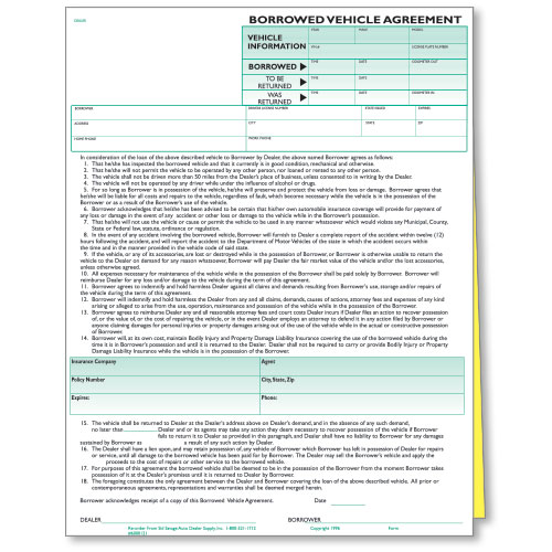 Borrowed Vehicle Agreements Car Dealership Forms