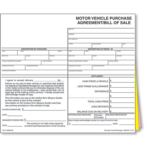 Auto Dealer Bill of Sale Forms - Style 1