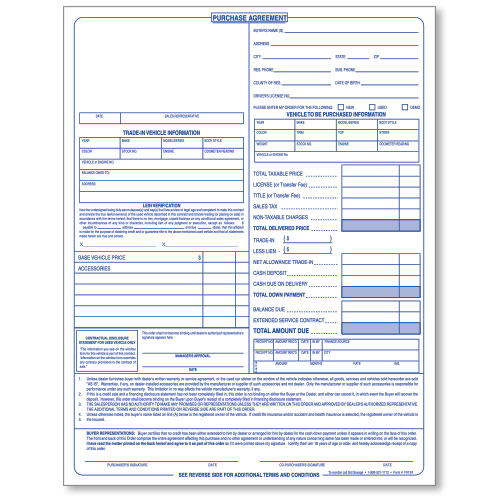 Car Purchase Agreements  Part Carbonless  Auto Dealer Forms