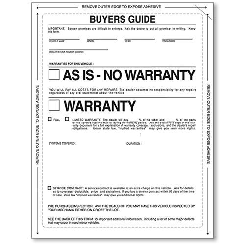Buyers Guide Window Sticker, FTC Stickers, Used Car Window ...