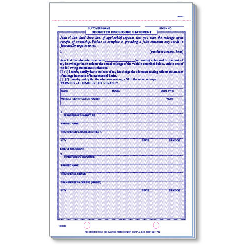 3-Part R&R Compatible Odometer Disclosure Forms