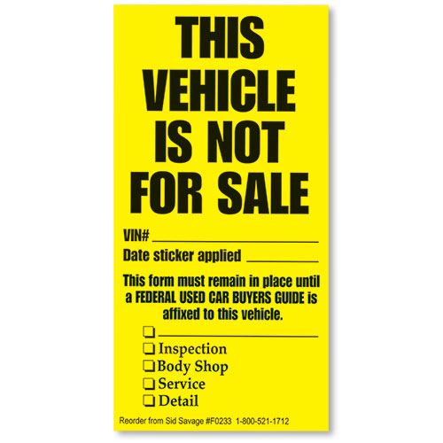 Vehicle Not For Sale Disposition Stickers