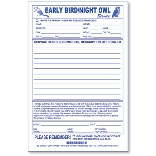 Early Bird Key Drop Envelopes Auto Service Supplies