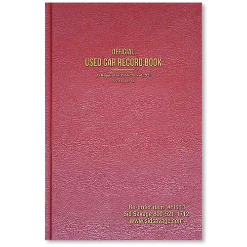 Econo Auto Sales >> Maroon Used Car Record Book | Auto Dealer Supplies