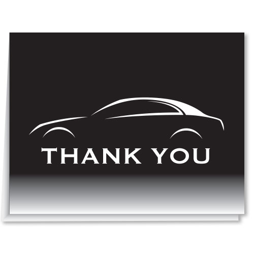 License Plate Holders >> Auto Dealer Thank You Card - Black & White Car | Auto Dealer Supplies