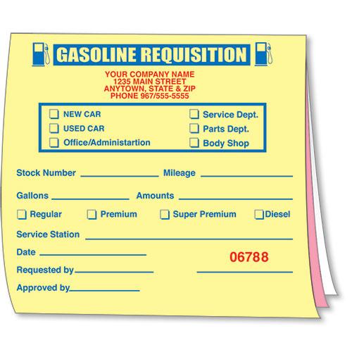 Econo Auto Sales >> Gasoline Requisition Book, Gas Expense Forms, Gasoline Receipt Book, Auto Dealer Forms
