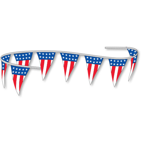 American Flag V-Shaped Plastic Pennant