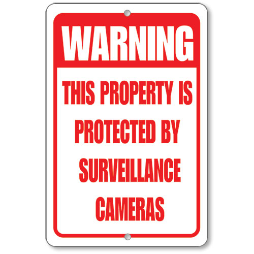 Red Surveillance Camera Warning Sign