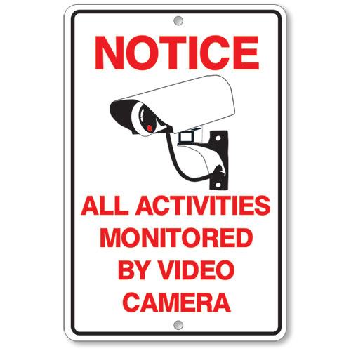 Activities Monitored Security Sign - Black and Red