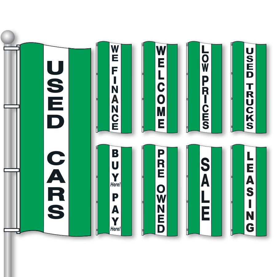 Green, White & Green Bright Drape Flags