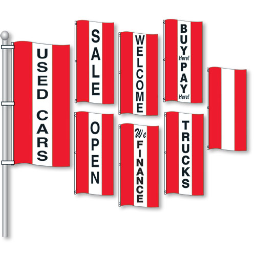 Small Verticle Stripe Drape Message Flags - Red & White