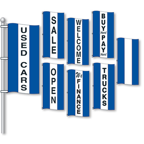 Small Verticle Stripe Drape Message Flags - Blue & White