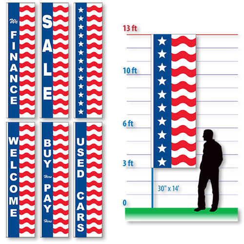 10' US Style Vertical Flags
