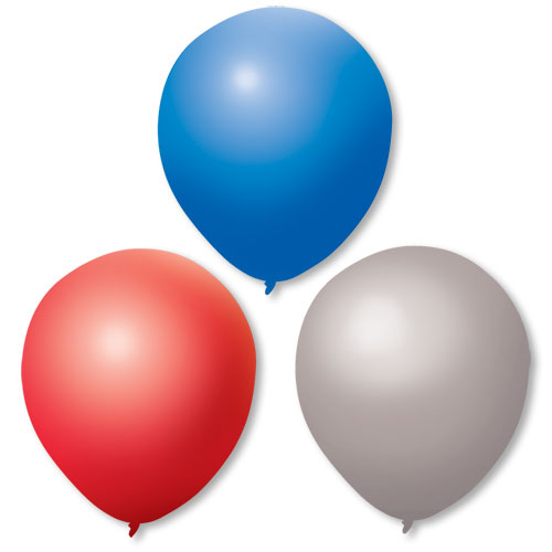 "17"" Red, Silver & Blue Premium Outdoor Balloons"