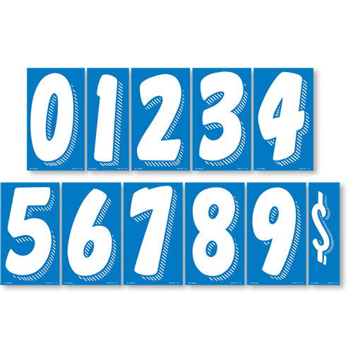 "7.5"" Peel & Stick Windshield Numbers Kit - White & Blue"