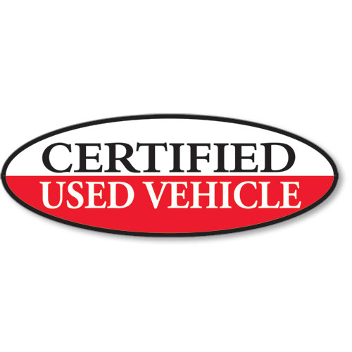 Certified Used Vehicle Oval Stickers - Red & White