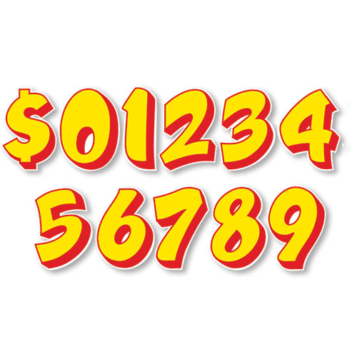 Red & Yellow Designer Cut 10 Inch Peel and Stick Numbers