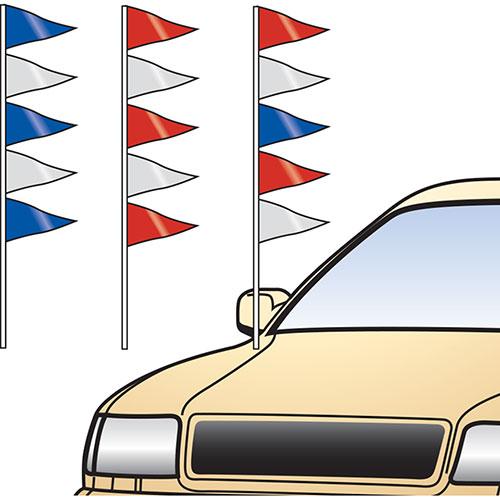Metallic Triangle Antenna Pennants Car Dealership Flags Auto