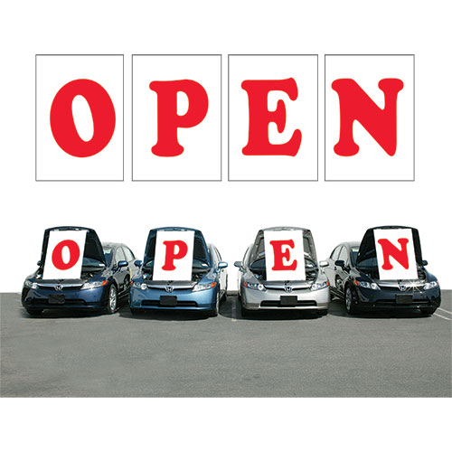 red open under the hood sign open signs under the hood signs car dealership signs. Black Bedroom Furniture Sets. Home Design Ideas