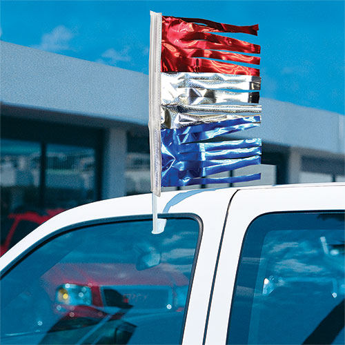 Fringe Metallic Clip-On Flag Kit - Red, Silver & Blue