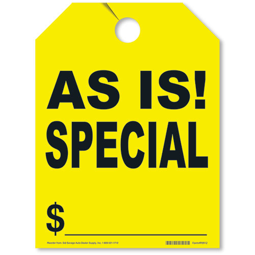 As-Is Special Rear View Mirror Tags - Fluorescent Yellow