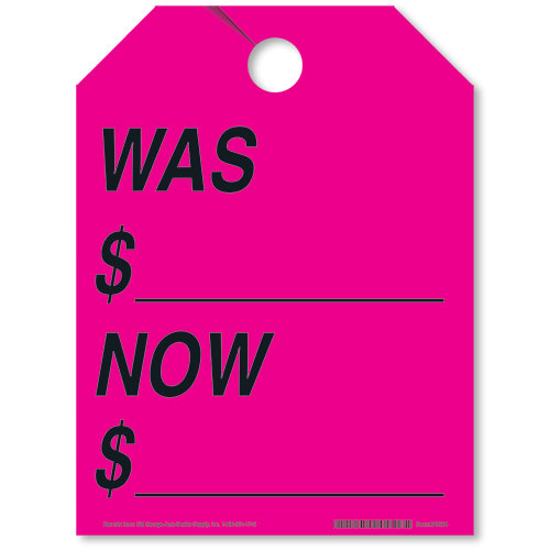 Was/Now Rear View Mirror Tags - Fluorescent Pink