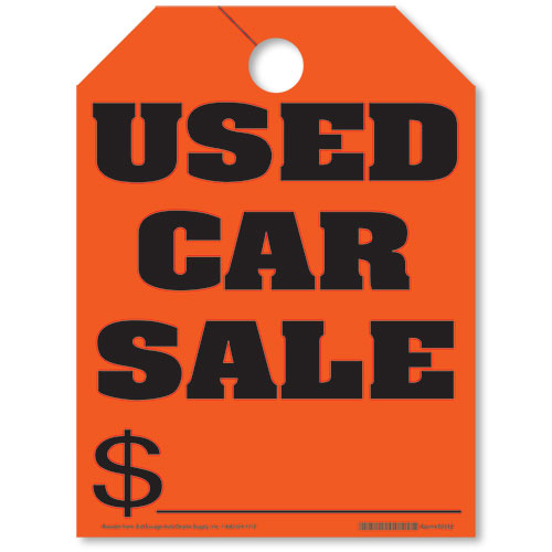Red Fluorescent Used Car Sale Rear View Mirror Tags