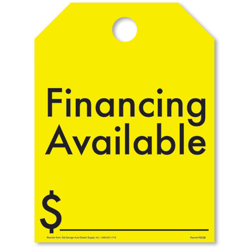 Financing Available-Yellow Fluorescent Rear View Mirror Tags
