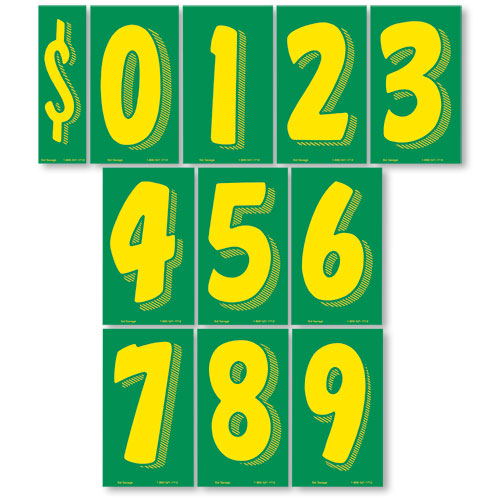 Green and Yellow 7 1/2 inch Pricing Numbers