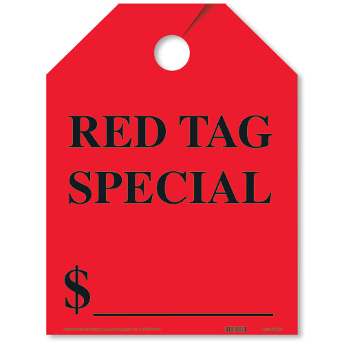Red Tag Special Bright Rear View Mirror Tags