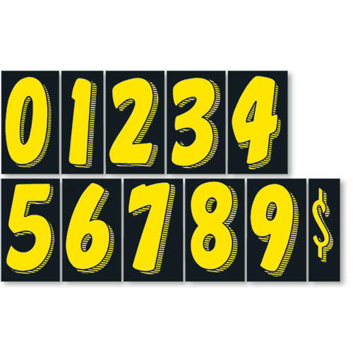 7.5 Windshield Pricing Numbers Kit - Black & Yellow