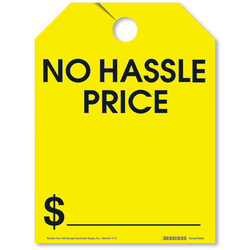 No Hassle Price Rear View Mirror Tags - Fluorescent Yellow