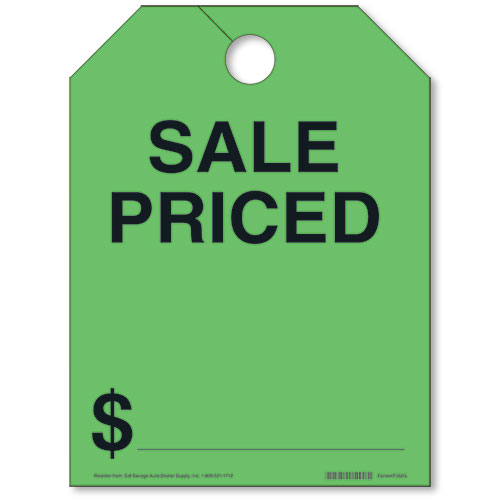 Green Sale Priced Fluorescent Rear View Mirror Tags