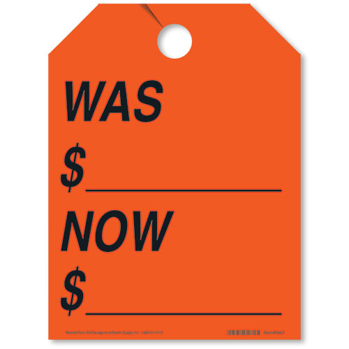 Was/Now Rear View Mirror Tags - Fluorescent Red
