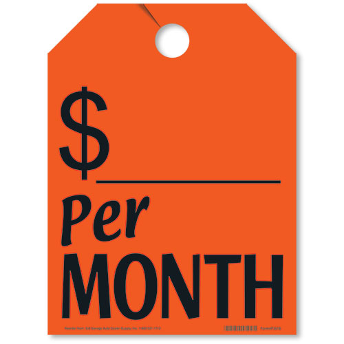 Price Per Month Mirror Tags - Fluorescent Red
